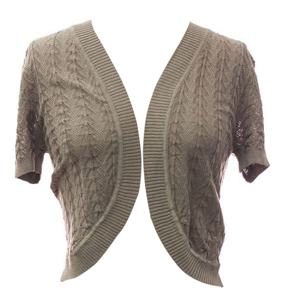 Plum Feathers Leaf Knit Short Sleeve Bolero Shrug Sweater Cover up Cardigan (Taupe, Large/X-Large)