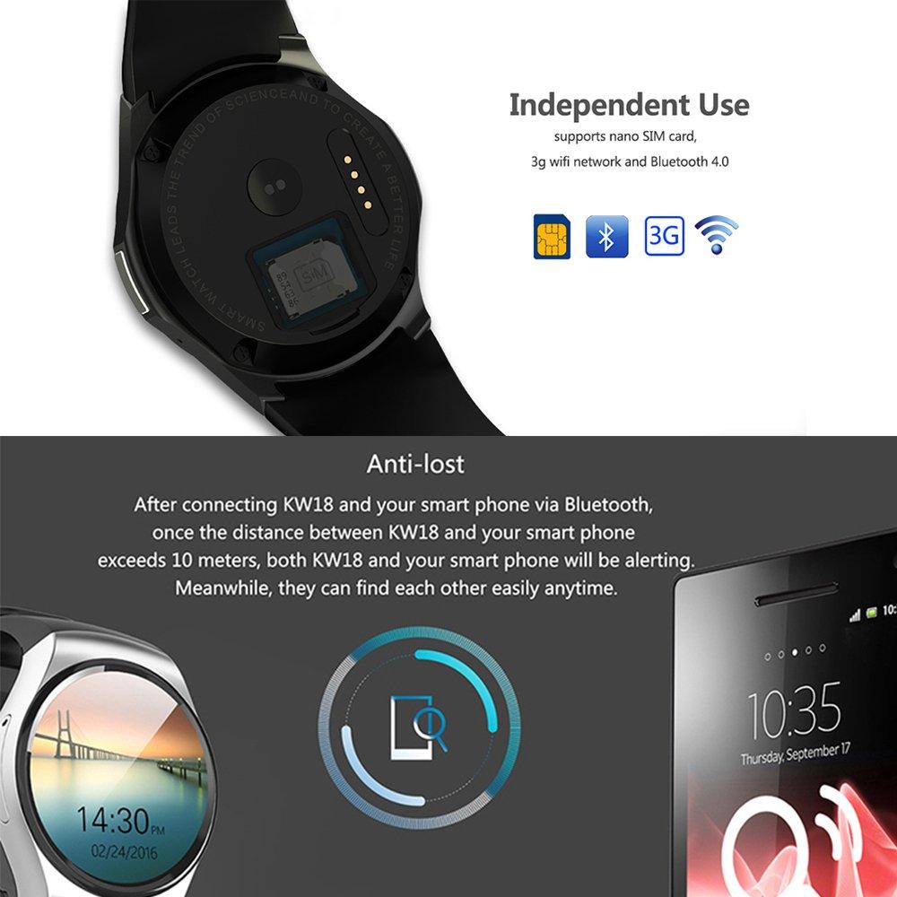 Amazon.com: Heart Rate Monitor Bluetooth Smart Watch, Round ...