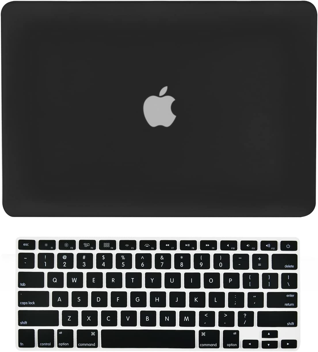"""TOP CASE - 2 in 1 Signature Bundle Rubberized Hard Case and Keyboard Cover Compatible Old Generation MacBook Pro 15"""" with DVD Drive/CD-ROM Model: A1286 (Release 2008 - Mid 2012) - Black"""