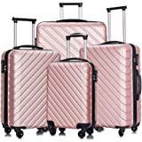 Apelila 4 Piece Luggage Sets,Travel Suitcase Spinner Hardshell Lightweight w/Free Suitcase Cover& Hanger (Rose Gold 4 Piece)