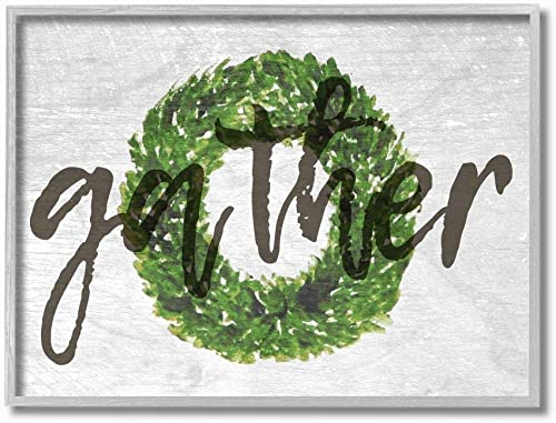 The Stupell Home D cor Collection Gather Boxwood Wreath Typography Gray Framed Wall Art, 16×20, Multi-Color