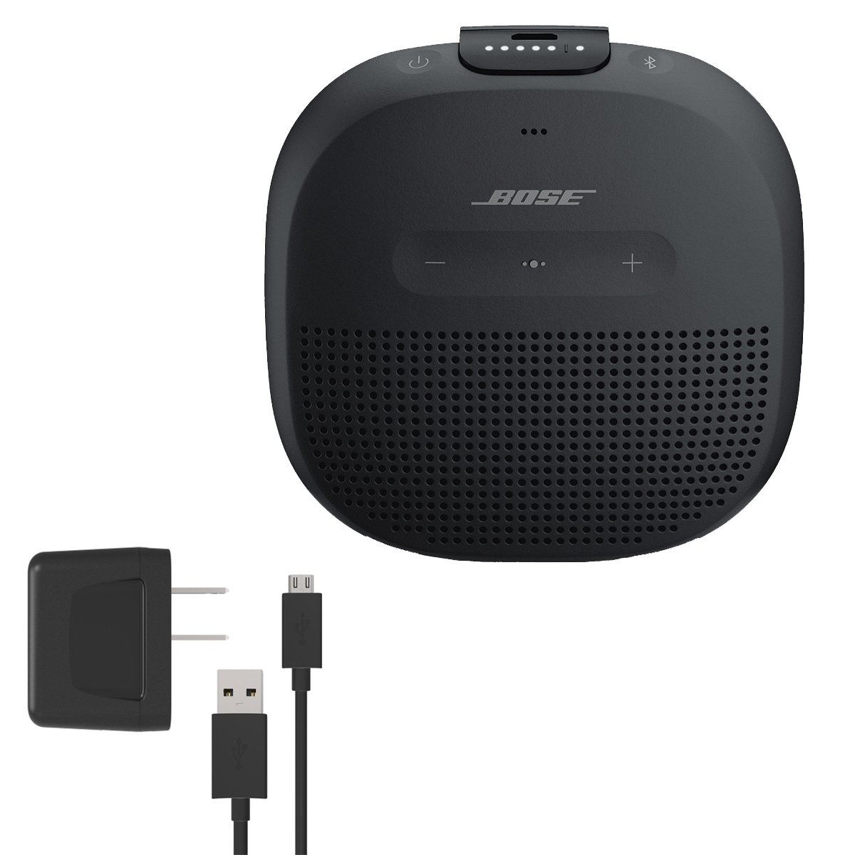 Bose SoundLink Micro Waterproof Bluetooth Speaker, Black, with Bose Wall Charger