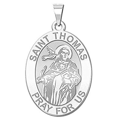 amazon picturesongold saint thomas aquinas oval religious 2 X 3 Length picturesongold saint thomas aquinas oval religious medal 1 2 x 2