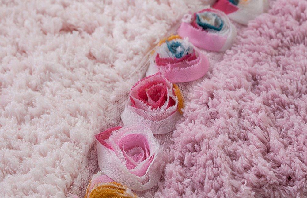 LivebyCare 3D Flowers Microfiber Area Door Mat Floor Rug Half Moon Doormat Entry Decor Front Entrance Indoor Outdoor Mats for Retiring Rest Room Presence Chamber Coffee House