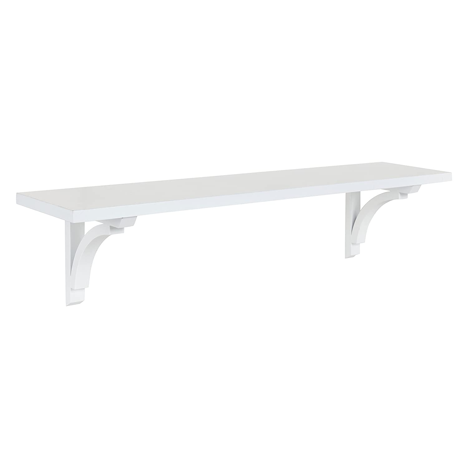 Kate and Laurel Corblynd Traditional Wood Wall Shelf, 36 inches, White