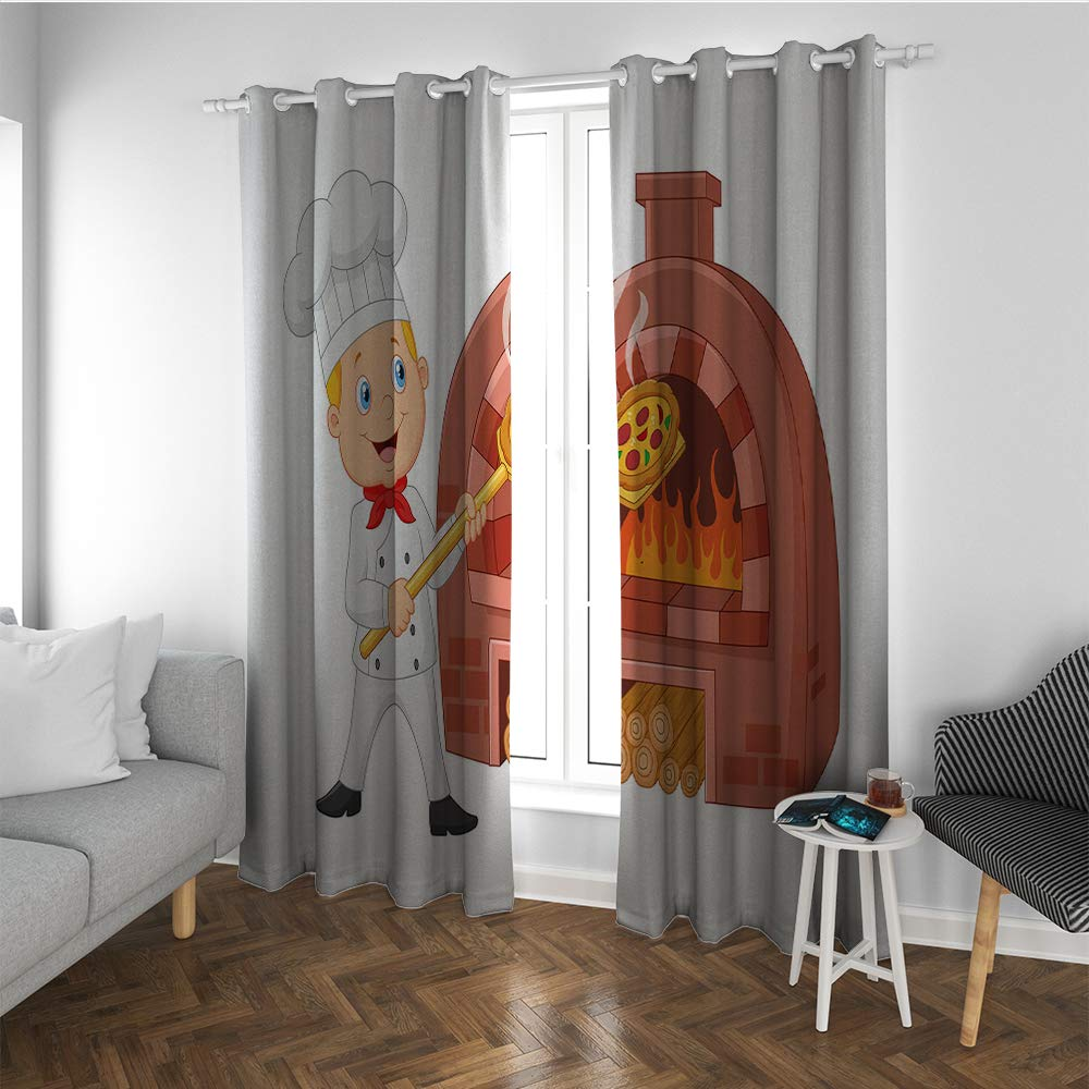Linhomedecor Pizza Grommet Window Curtain 2 Panel Nursery Themed Cartoon Design of Chef Next to Oven Baking Traditional Italian Food Insulating Room Darkening Blackout Drapes for Bedroom Multicolor