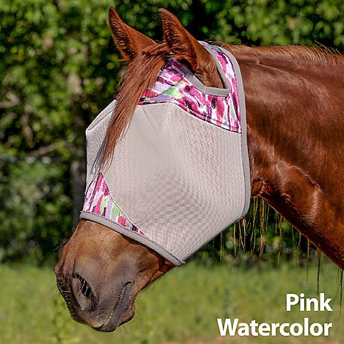 Cashel Designer Fly Mask, Standard without ears and nose, Style: Pink Watercolor Size: Horse- Limited Edition for - Cashel Mask Fly Pink