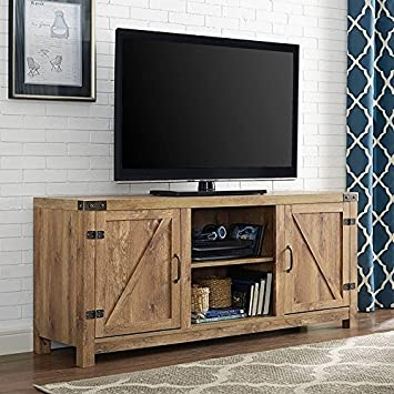 Modern Rustic 2 Door Media Cabinet TV Stands With Adjustable Shelves    Includes Modhaus Living Pen