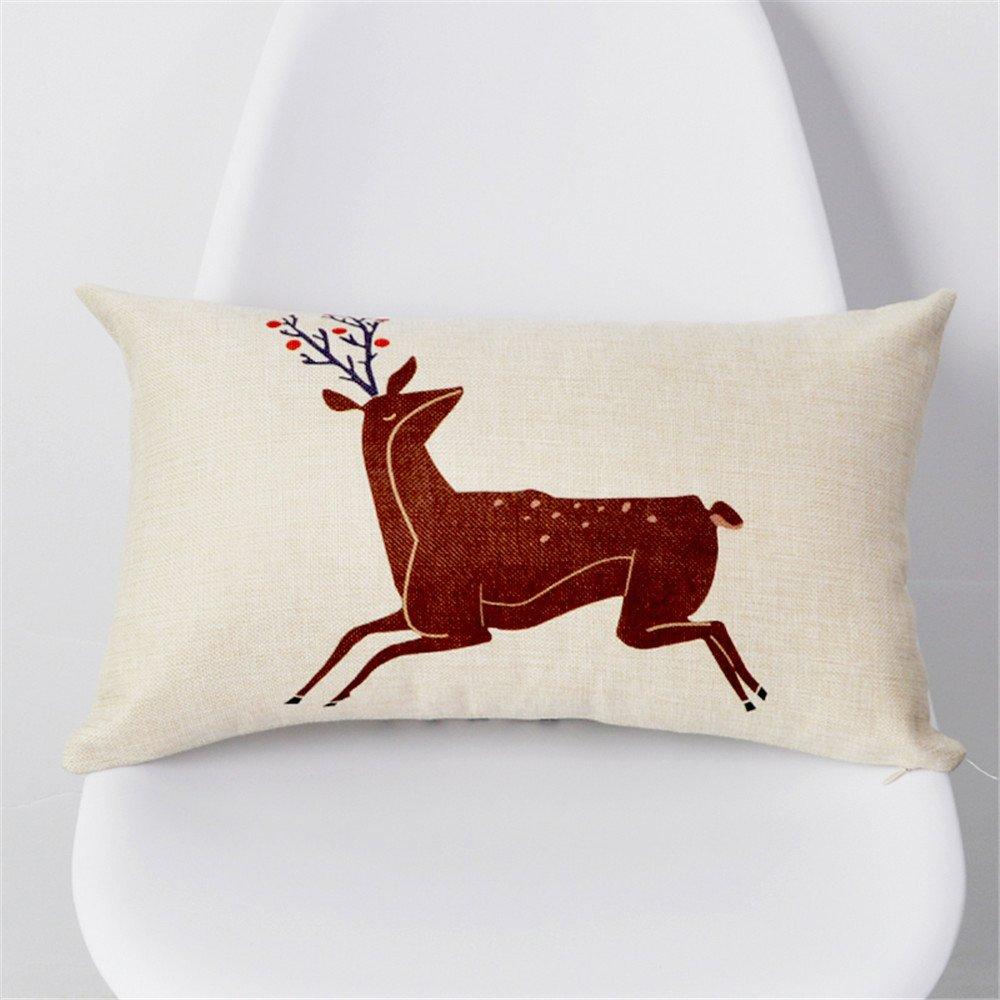 Long-shaped waist pillow cotton pillow Elk Rectangular Nordic simple color strip waist pillow car cushion N/4060cm