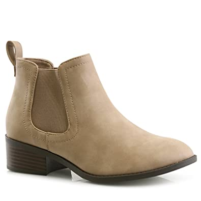a7b15de796ab LUSTHAVE Women s Charlie Stacked Chunky Low Heel Elastic Chelsea Ankle  Casual Bootie Boots Mauve 5.5