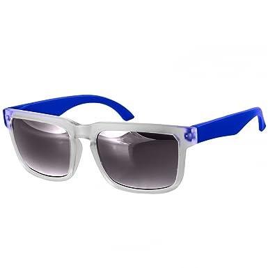 CASPAR PREMIUM Unisex Wayfarer Brille / Sonnenbrille mit gefrostetem Rahmen - viele Farben - SG018, Farbe:blau / schwarz getönt