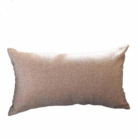 VJGOAL Casual Color sólido Suave Lino algodón Funda de Almohada Rectángulo extraíble y Lavable Cojín 30cm * 50cm(30_x_50_cm,Caqui)