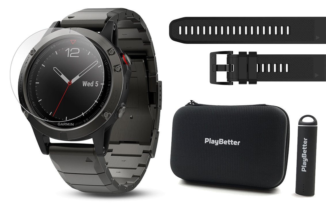 Garmin fenix 5 Sapphire (Slate Gray/Metal Band) POWER BUNDLE | Includes Extra Band (Black), HD Glass Screen Protector, PlayBetter Hard Case & PlayBetter Portable Charger | Multi-Sport GPS Watch by PlayBetter