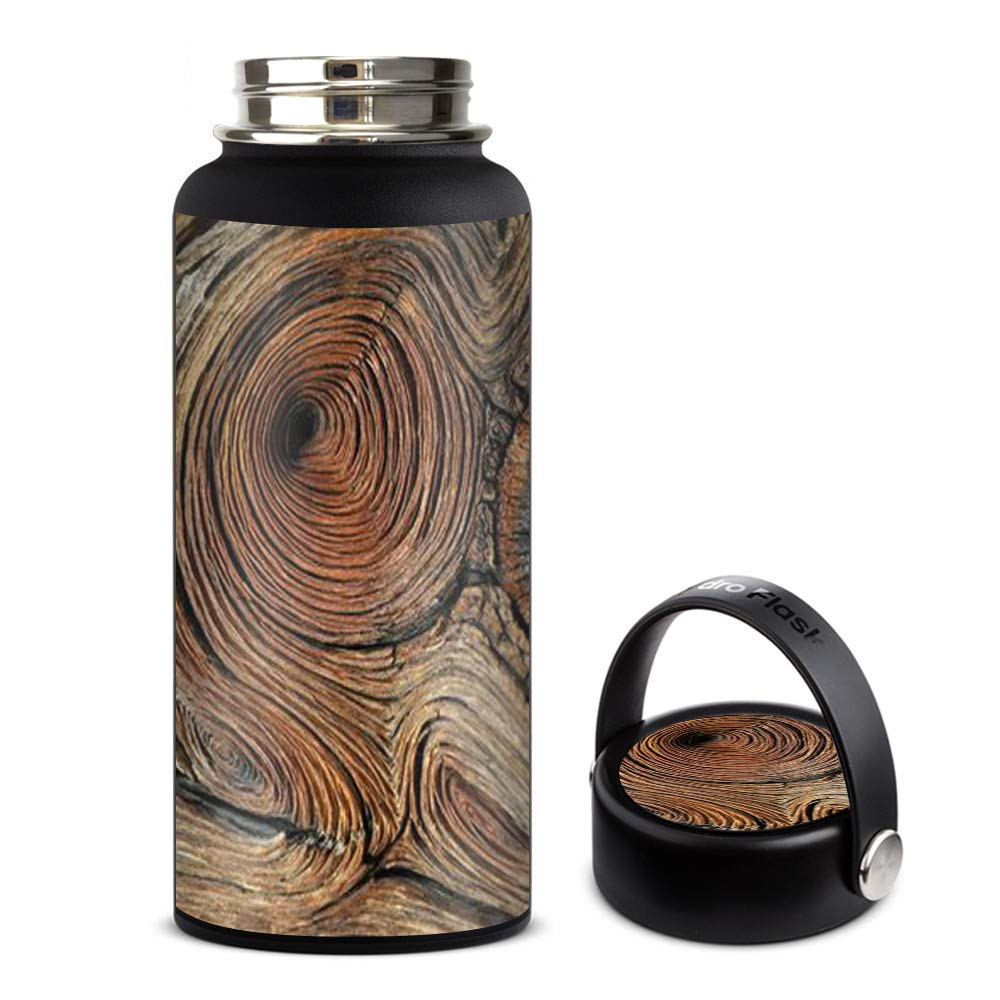 Skin Decal Vinyl Wrap for Hydro Flask 32oz Wide Mouth Skins Stickers Cover/Wood Knot Swirl Log Outdoors