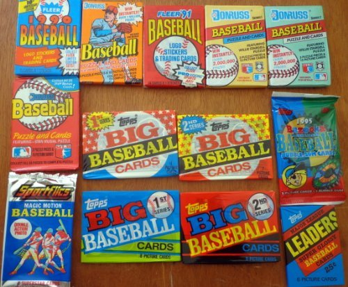 Nice Lot of 13 Sealed Unopened Wax Packs Old Baseball Cards 1986 to (Baseball Unopened Wax)