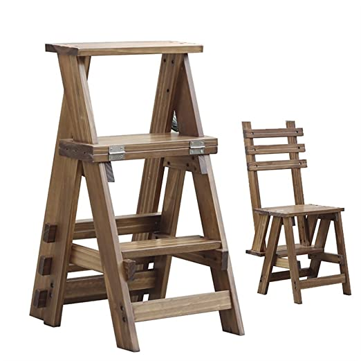 Amazon.com: Taburete de madera maciza con 3 escalones para ...