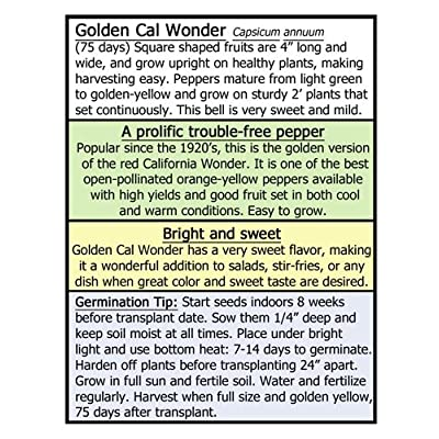 Golden Cal Wonder Bell Pepper 10 Seeds - American Heirloom - Organic and Non-gmo : Garden & Outdoor