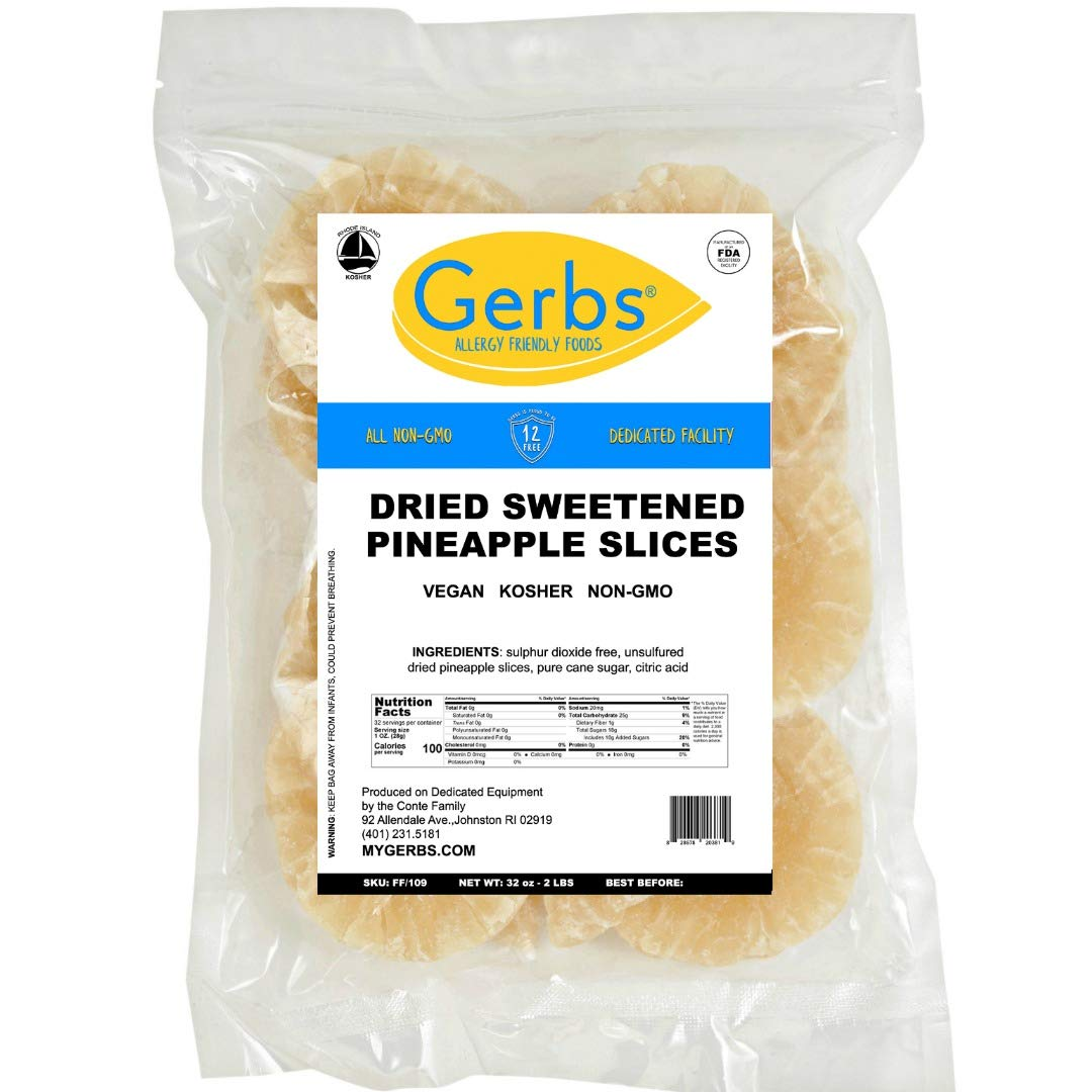 GERBS Dried Sweetened Pineapple Rings, 32 ounce Bag, Unsulfured, Preservative, Top 14 Food Allergy Free
