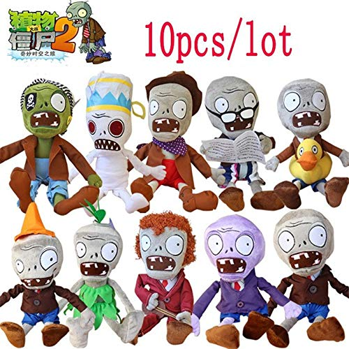 RAFGL 10Pcs/Lot 30Cm Plants Vs Zombies Plush Toy Games PVZ Zombies Stuffed Toys Dolls New Must Haves Gift Ideas Girls Favourite Characters Superhero Birthday Unboxing Toys by RAFGL