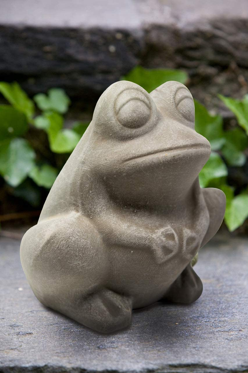 Elly Décor Frog Garden Statue Lawn décor, 9-inch Art Sculpture for Your Patio & Yard, Ceramic Animal figurin, Color Gray