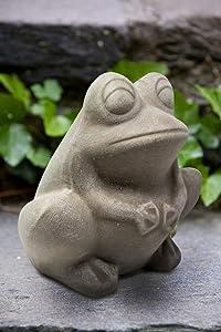 Elly Décor Frog Garden Statue Lawn décor, 9-inch Art Sculpture for Your Patio & Yard, Ceramic Animal figurin, Color Gray