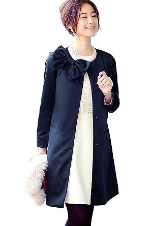 e3e2a2cd28d62 RUIRUE BOUTIQUE(ルイ・ルエ・ブティック) ノーカラー リボン ブローチ 付き ドレス コート