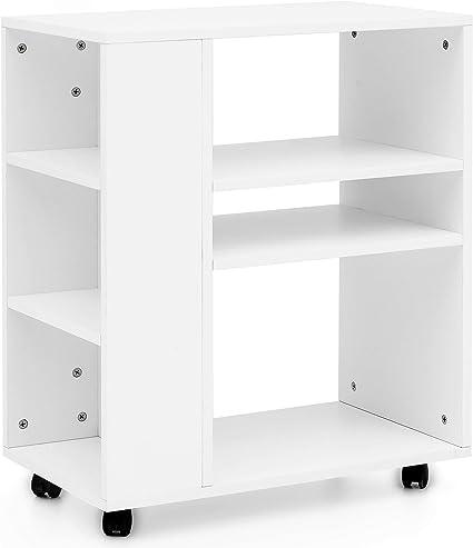 KADIMA DESIGN Estantería blanca de 60 x 75 x 35 cm con ruedas ...