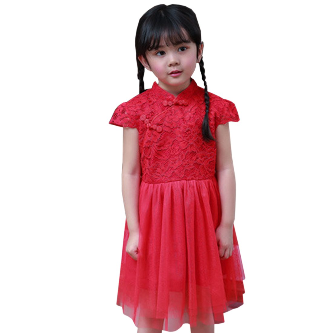 ACVIP Kids Little Girl's Lace Tulle Chinese Qipao Dress (4-5 years/Tag 120, Red)