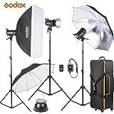 Godox SK300-D 3 つ 300WS スタジオ フォト ストロボ フラッシュライト キット 3 *ライトスタンド + 1*ソフトボックス + 1*反射傘 + 1*ソフト傘 + 1*フラッシュ トリガー + 2*灯シェード + 1*キャリングバッグ ストロボ撮影専用機材 写真スタジオ用