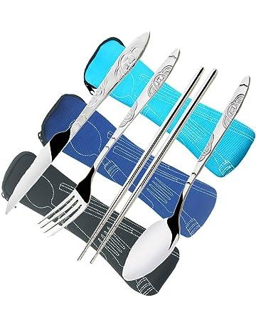 CKANDAY 3 Paquetes / 12 Piezas Juego de Cubiertos de Acero Inoxidable, Cuchillo Tenedor Cuchara