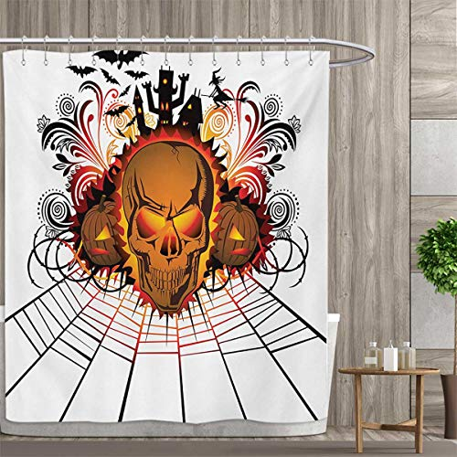 smallfly Halloween Shower Curtains Fabric Angry Skull Face on Bonfire Spirits of Other World Concept Bats Spider Web Design Bathroom Decor Set with Hooks 72