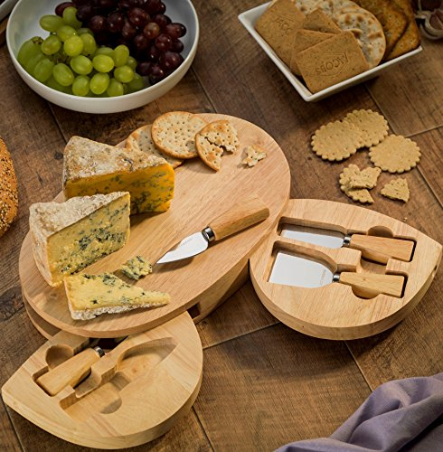 -[ Occasion for Cheese - Large Oval Cheese Board with 2 integrated speciality knife compartments  ]
