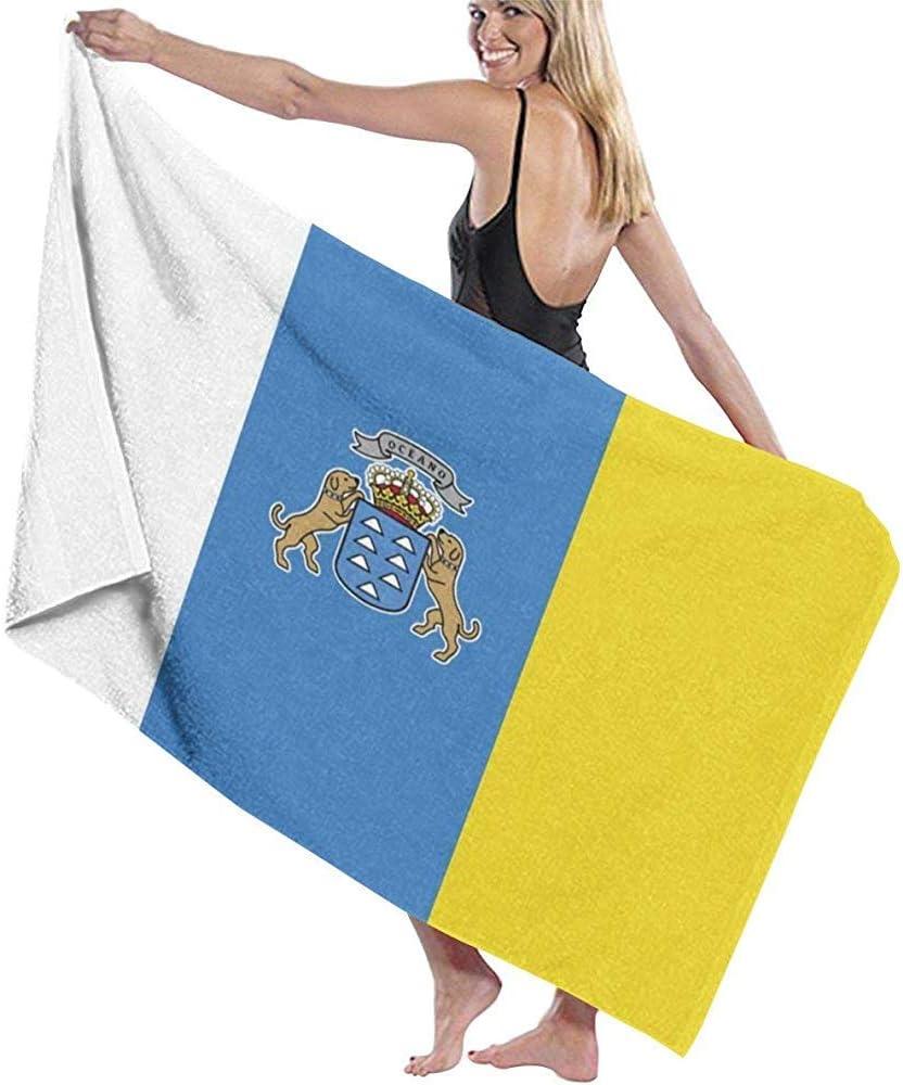 Roman Lin Toalla de Playa Premium de Bandera de Las Islas Canarias,Adecuada para Hotel,Piscina,Gimnasio,Playa,Toalla de baño de Secado rápido Natural,Suave