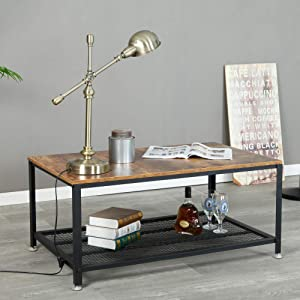 Industrial Coffee Table for Living Room, 2-Tier Tea Table with Storage Shelf TV Stand Side End Table, Accent Furniture for Home Office
