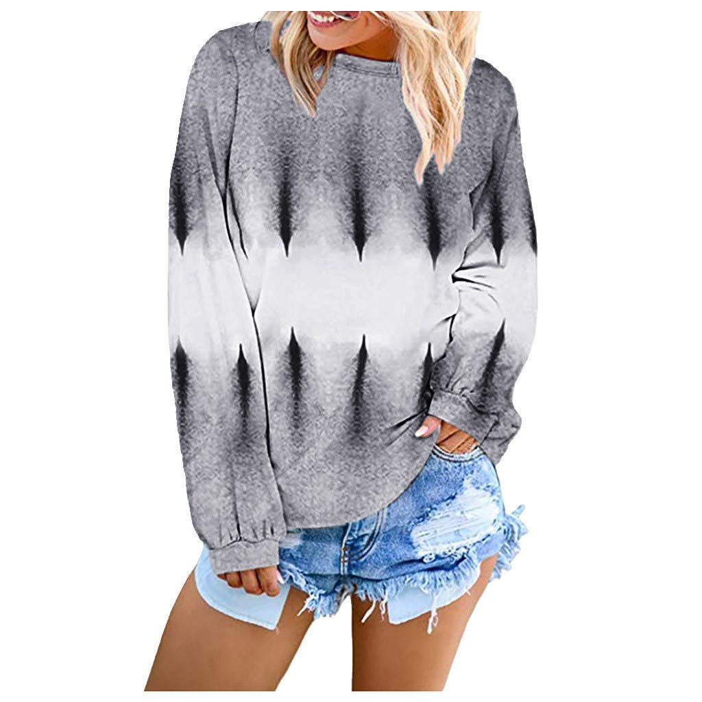 〓COOlCCI〓Pullover Sweatshirts for Women,Women Crewneck Pullover Tops Casual Tie Dye Long Sleeve T-Shirt Tunic Blouses Gray by COOlCCI_Womens Clothing