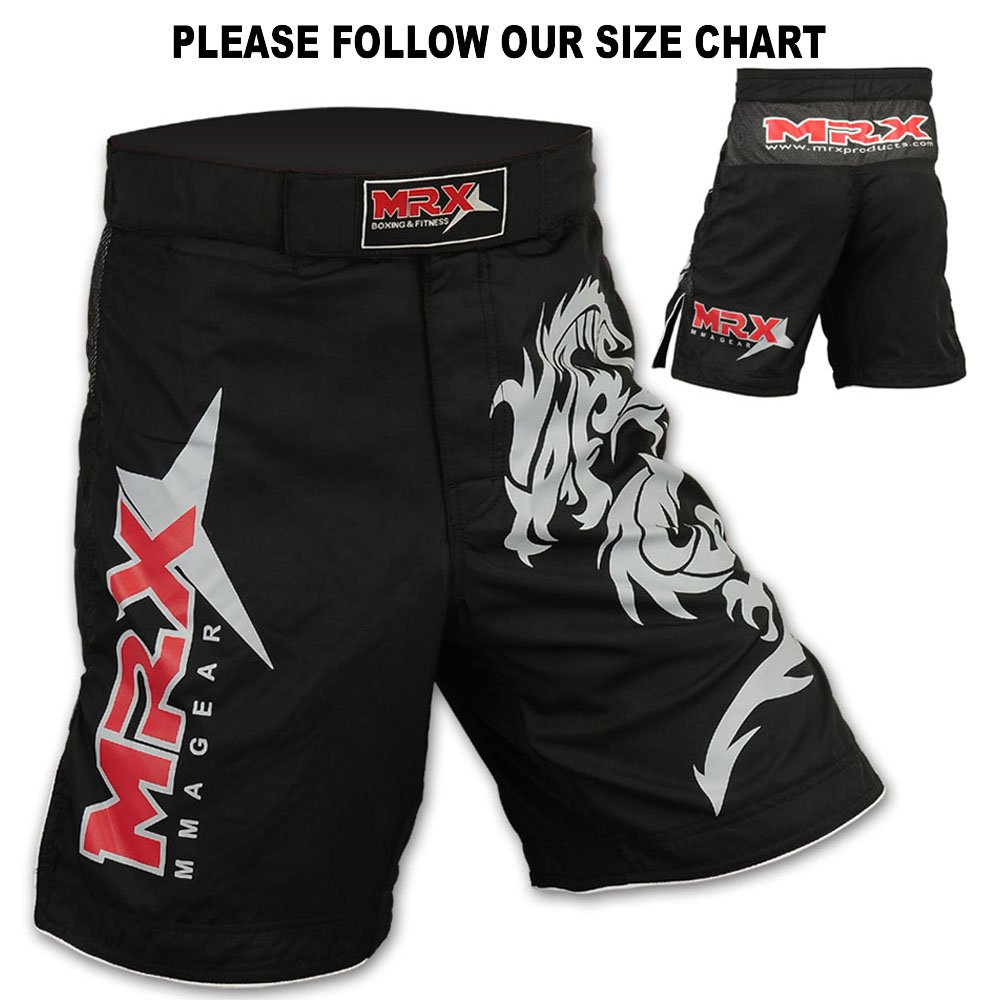 Mrx MMA Fight Shorts Stretch Penals Black with Dragon Unisex Training Trunks-CA Mrx Products