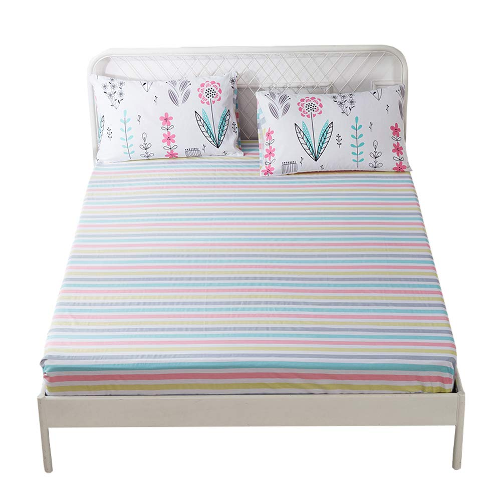 HIGHBUY 100 Percent Soft Cotton Fitted Sheet Twin Size Colorful Striped Deep Pocket Wrinkle Free Kids Bedding Collection Twin Bed Sheet 1 PCS by HIGHBUY