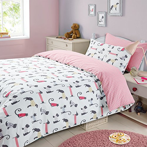 Cat and Dog UK Double/US Full Duvet Cover and Pillowcase Set Dog Quilt