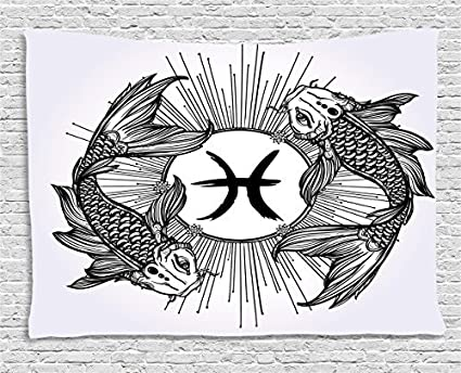 Amazon Zodiac Tapestry Sketch Of Pisces Sign With Fishes