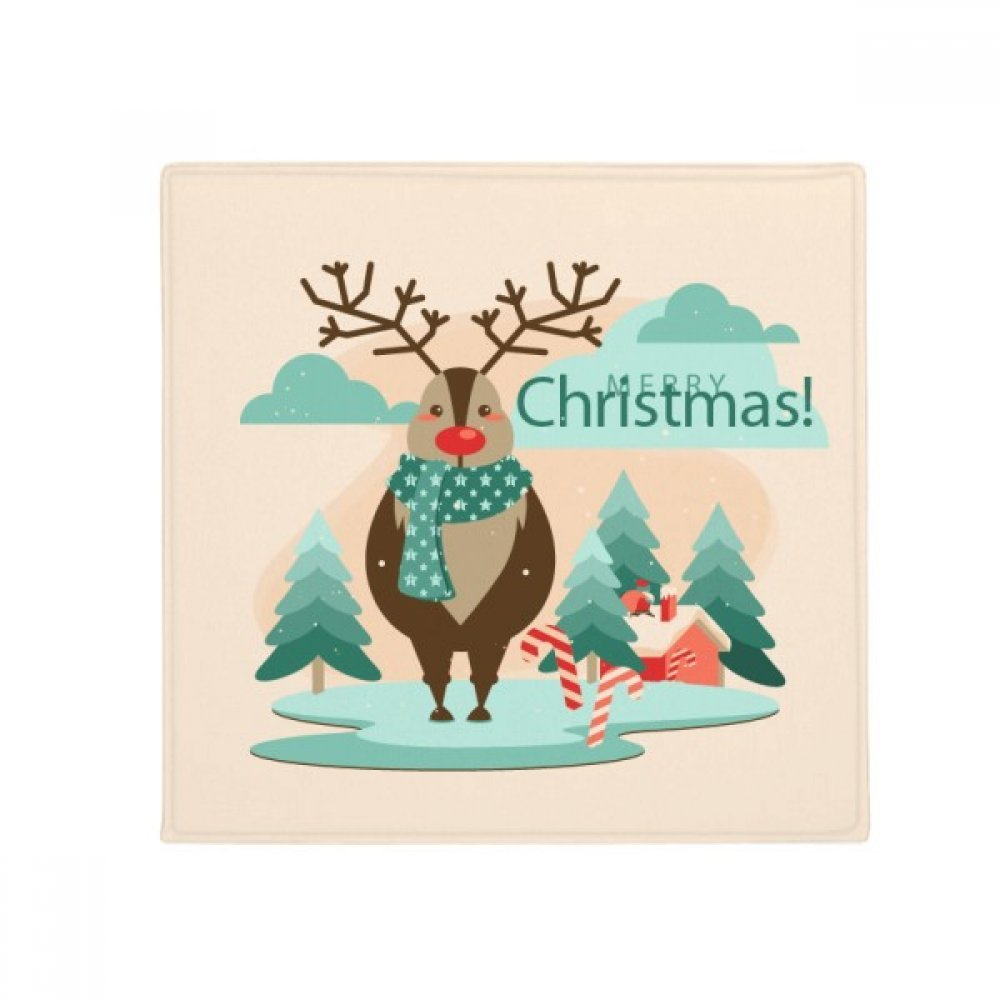 DIYthinker Merry Christmas Tree Reindeer Illustration Anti-Slip Floor Pet Mat Square Home Kitchen Door 80Cm Gift