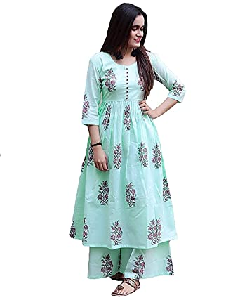 66129ab934 Marlin Women's Cotton Kurti With Palazzo Pant Set (Green): Amazon.in ...