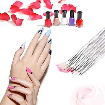 Amazon.com : 7pcs Nail Art Design Brush Set Plastic Nail Pen Brush ...