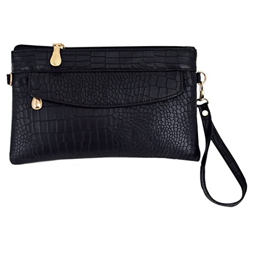 Women PU Leather Crocodile Pattern Wristlet Bag Alligator Stripe Handbag  Clutch Shoulder Bag Cross Body Bag 6f75abbeb3a26