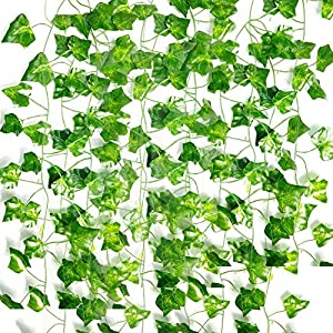 Nanudo 12 Strands 84 Ft Fake Ivy Leaves Artificial Ivy Garland Greenery Plants Vine Hanging Garland Fake Foliage Flowers Garden Office Wedding Wall Decor Home Kitchen Indoor & Outdoor Decoration 93