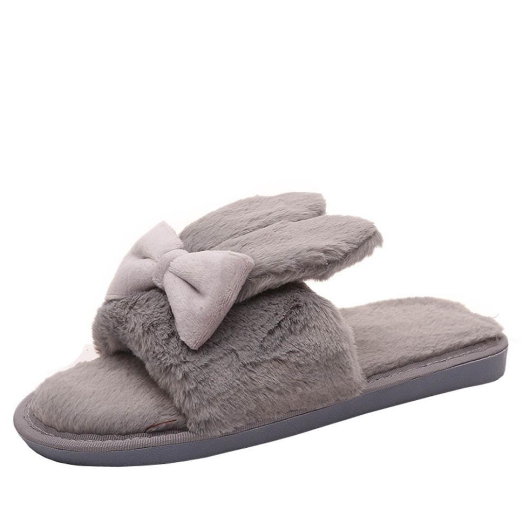 Chaussures Claquette, Rawdah Femme Mules Fille Hiver Chaud Fleurs De Fourrure à La Maison Shoes Plat