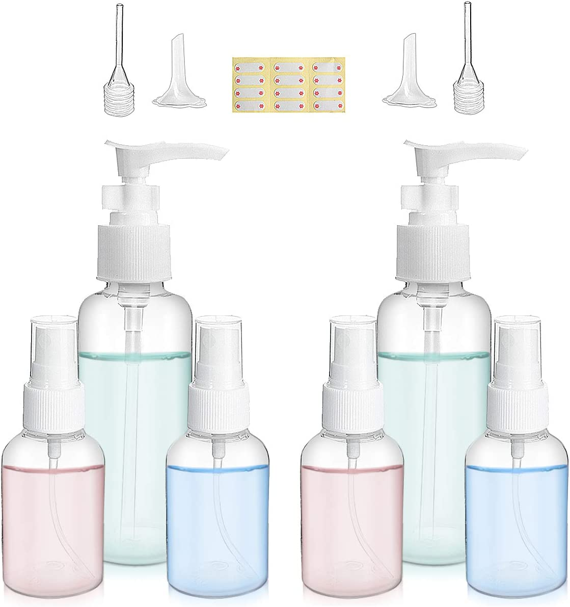 DALV 6PCS Transparent Empty Spray Bottle 4Pcs Mist Sprayer 1.7oz 3.4oz 2Pcs Funnel and Straw 2Pcs Pump Bottle Refillable Reusable Bottles