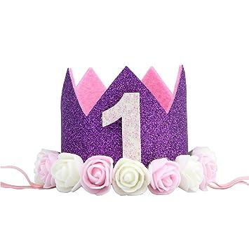 CAOLATOR.Venda Bebé de 1 Año de Pel Bebé Banda Infantil para El Pelo Niños Bandas Banda de Pelo de Cumpleaños Diadema Tiara Princesa Crown para ...