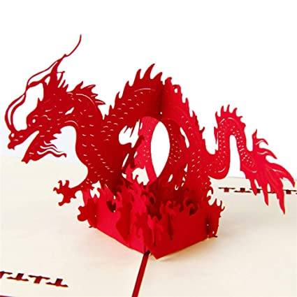 HUNGER Handmade 3D Pop Up Chinese Dragon Birthday Cards Creative Greeting Papercraft