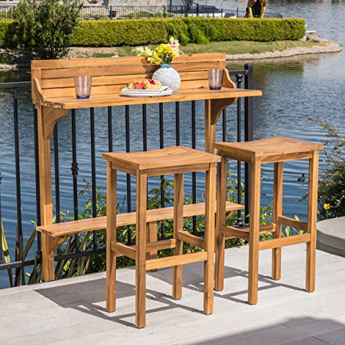 Great Deal Furniture Cassie Outdoor 3 Piece Natural Finish Acacia Wood Balcony Bar Set Acacia Outdoor Furniture