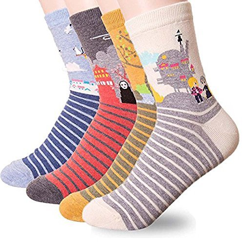 Women's Japan Animation Cartoon , Cute Lovely Animal Socks Cat and Dog Gift Idea, Miyazaki 4 P, One Size from BLUEFOT